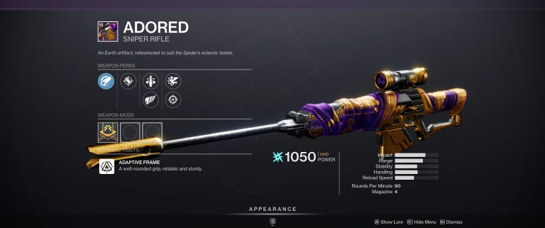 adored weapon perks